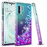 LeYi Funda Samsung Galaxy Note 10 Plus/Note 10 Plus 5G Silicona Purpurina Carcasa con [2-Unidades] 3D Curvo Pet Pantalla, Transparente Bumper Clear Gel TPU Fundas Case para Movil Note 10+ Morado