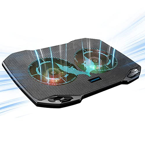 Laptop Cooling Pad, Gaming Laptop Cooler with 2 Quiet Big Fans, RGB 7 Color Light Change, Portable USB Laptop Stand 11 to 15.6 Inch, Slim and Easy Carry Working Study Outdoor Travel, 2020