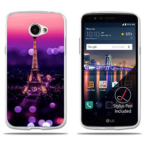fubaoda LG K5/Q6/X220ds Hülle, [Tower Night] Transparent Silicon Clear TPU Slim Fit Shockproof Flexible 3D zeitgenössischen Chic Design Ultra Thin Lightest Easy Grip Durable Flex für LG K5/Q6/X220ds