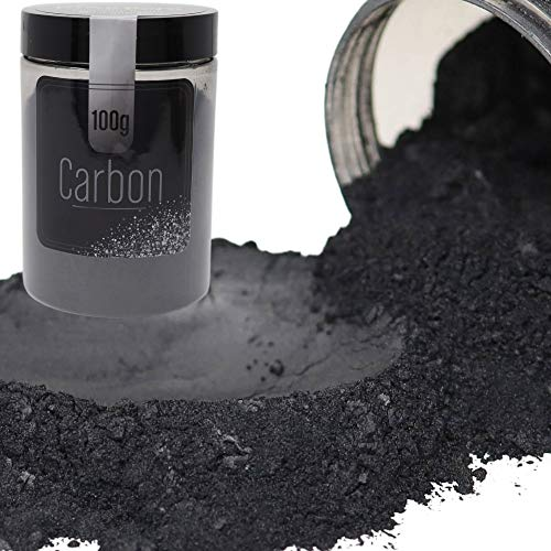 FIREDOTS Carbon Mica Powder - 100g of Black Mica Pearl Pigment Powder for Soap Making, Epoxy Resin, and More - Cosmetic Grade Black Mica Powder - Epoxy Resin Color Pigment
