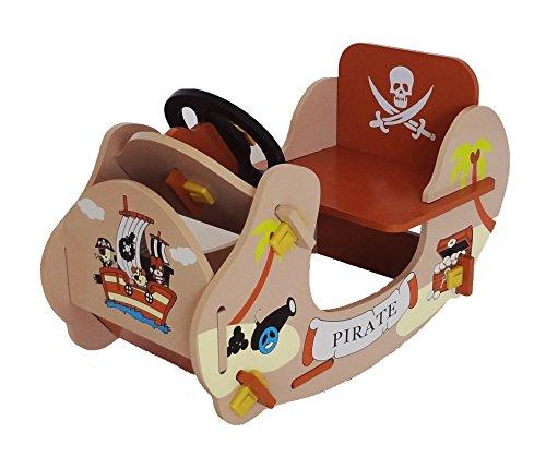 Kiddi Style Piraten Schaukelschiff & Schaukelboot – Jungen Schaukelspielzeug & Wellenschaukler Holzspielzeug