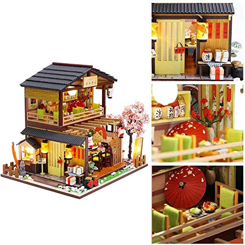 Certainoly DIY Kit de casa de muñecas Tienda de Sushi ensamblada en 3D Mini Cabina de Regalo Hecha a Mano con Movimiento Musical para Familiares y Amigos