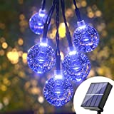 Solar String Lights Blue Outdoor - 36FT 60 Led Upgraded Outdoor Globe String...