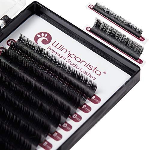 Easy Fan Lashes, selbstfächernde Volumen Wimpern D Curl 0.07mm im Mix 8-14mm für die Wimpernverlängerung von Wimpanista®