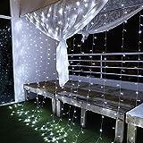 Cortina de Luces, 3x3㎡ Cable de Cobre 300 LED, Resistente al Agua, 31V, 8 Modos de Luz, Decoración de Navidad, Fiestas, Bodas, Jardín, Blanco Frío