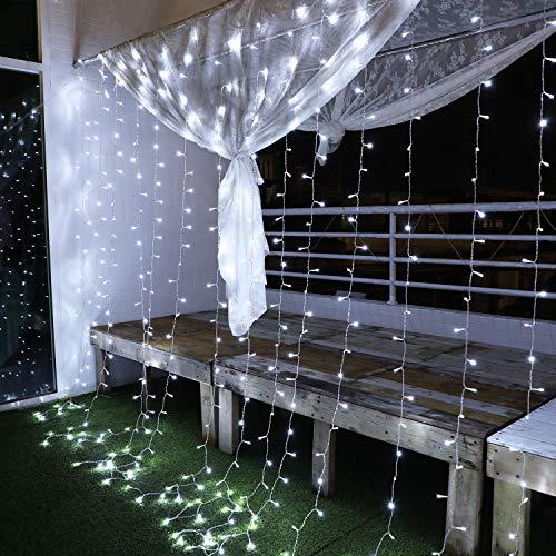 Yinuo Mirror Luces Navidad Led, Cortina de Luces 3x3㎡ Cable de Cobre 300 Led, Resistente al Agua, 31v, 8 Modos de Luz, Navidad Decoración, Fiestas, Bodas, Jardín, Blanco