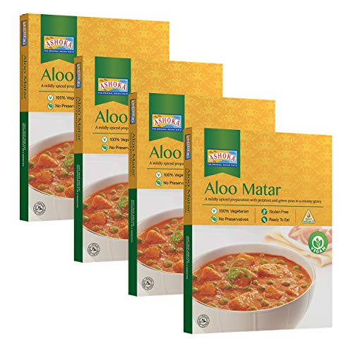 Ashoka Microwaveable Ready to Eat Meals  Aloo Matar Mildly Spiced Potatoes and Green Peas in a Creamy Gravy Pack of 4