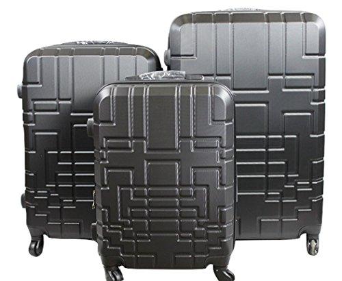 Orlacs modello Dublin 5 -Set valige Trolley da 3 pezzi,dopiia ZIP ampiezza, materiale ABS e policarbonato con 4 ruote girevoli 360° gradi colori vari (Nero Fumè)