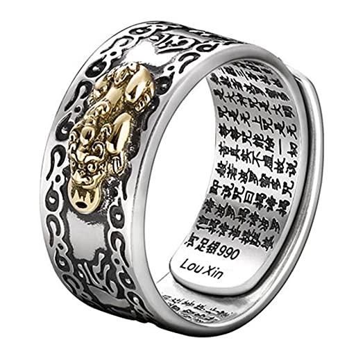 GEQIAN Pixiu - Anillo de amuleto con diseño de Feng Shui Pixiu Mani, mantra, para protección de riqueza, anillo de joyería budista