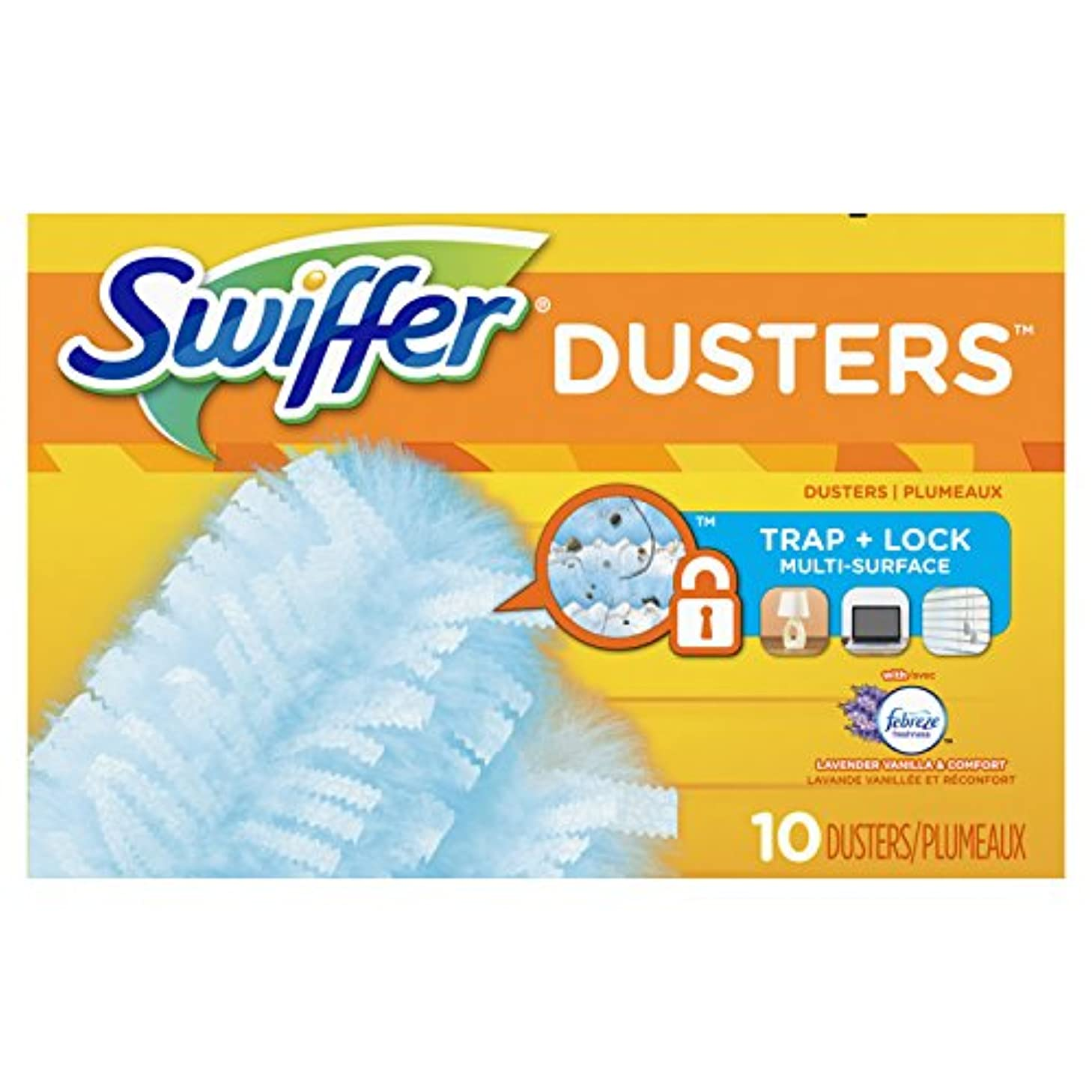 Swiffer 180 Dusters Multi Surface Refills, with Febreze Lavender & Vanilla Scent, 10 Count (Packaging May Vary)
