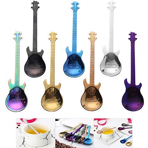 FHEDE Guitarra Cucharillas de café, Colores Cuchara de Acero Inoxidable Ideal Coloridas...