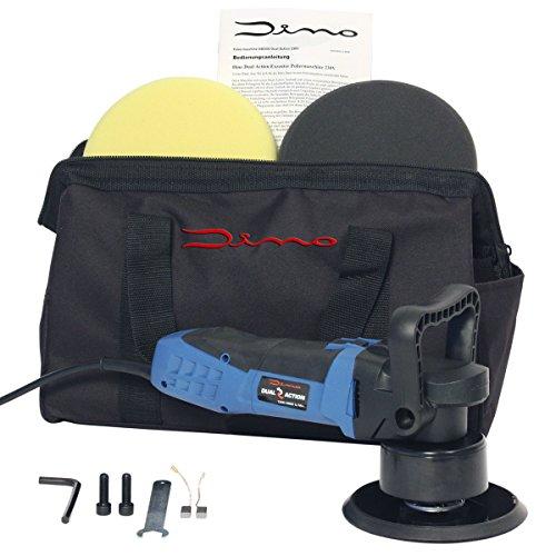 Dino Kraftpaket Excentrische polijstmachine, 8 mm - 600 W, traploos in set met polijstspons polijstschijf, tas voor auto, boot.