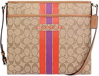Coach F38402 IMBDB Signature Coated Canvas Varsity Stripe File Crossbody Bag In Khaki/Watermelon