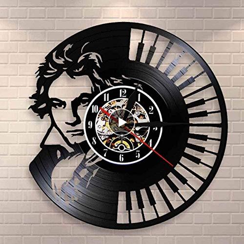 TIANZly Beethoven Portrait Wandkunst Klavier Tastatur Wanduhr Vintage Vinyl Schallplatte Wanduhr Symphonie Liebhaber klassischer Musik Geschenk 12-Zoll-Silent Clock