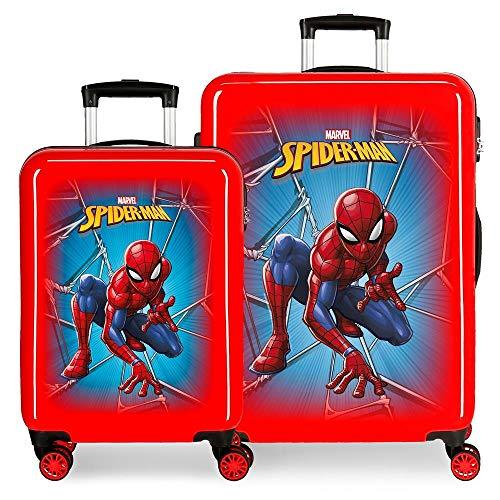 Marvel Spiderman Black Juego de Maletas Rojo 55/68 cms Rígida ABS Cierre combinación 104L 4 Ruedas Dobles Equipaje de Mano