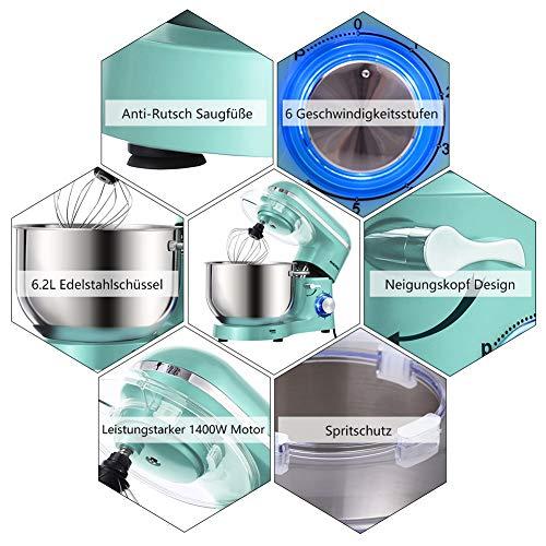 Aucma Küchenmaschine 1400W mit 6,2L Edelstahl-Rühlschüssel, Rührbesen, Knethaken, Schlagbesen und Spritzschutz, 6 Geschwindigkeit Geräuschlos Teigmaschine, Blau - 3