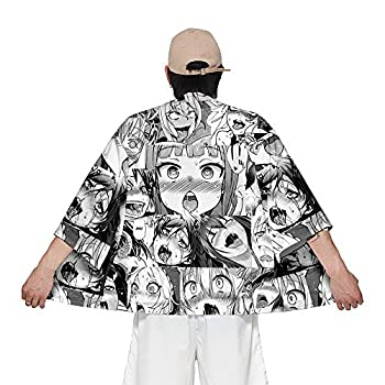 2 Piece3D Hentai Print Outfits for Men Japanese Kimono and Short Pants Sets  Top X-Large