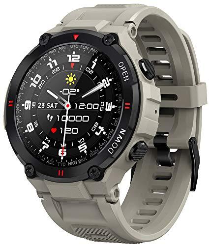 Smartwatch EIGIIS, Orologi Sportivi Tattici Militari Impermeabili Tracker di Attività All aperto con Chiamata Bluetooth, Contapassi Fitness Tracker Watch per Musica (Kaki)
