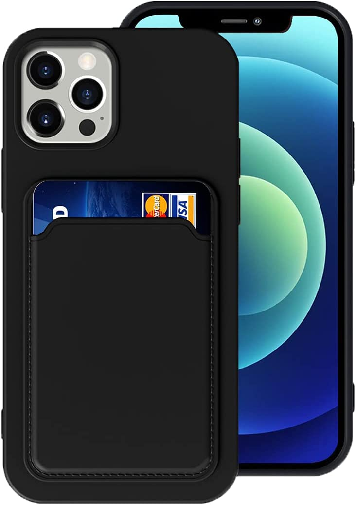 Silicone Card Case Compatible with iPhone 12/iPhone 12 Pro 6.1inch, Shock-Absorbing Protective Case with Card Holder, Soft Slim Wallet Case Compatible with iPhone 12/12 Pro (2020 Release)-Black