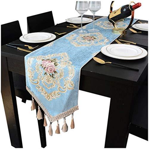 Hedendaagse geweven Plein tafelloper Patterned tafeldecoraties (blauw) Tafelkleed-4.13 (Size : 32 * 160cm)