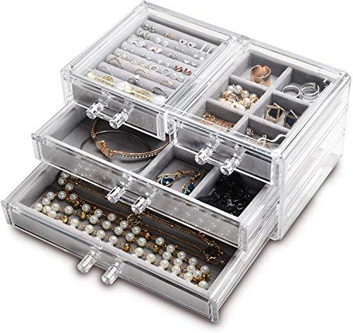 Hanguin Schmuckkästchen aus Acryl mit 4 Schubladen, durchsichtig, für Ringe, Halsketten, Ohrringe, Armbänder, Präsentationsbox für Frauen und Mädchen (grau)