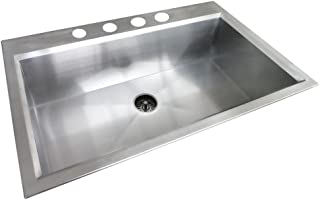 Glacier Bay All-in-One Dual Mount Stainless Steel 33x22x9 4-Hole Single Bowl Kitchen Sink in Satin Finish