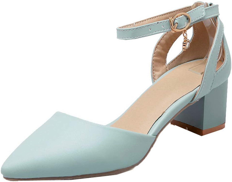 WeenFashion Women's Buckle Kitten-Heels Pu Solid Closed-Toe Sandals, AMGLX010179