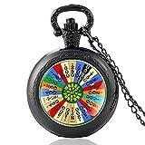 Wheel Fortune Tocadiscos Vintage Reloj de Bolsillo de Cuarzo Hombres Mujeres Colgante único Collar Horas Reloj Regalos