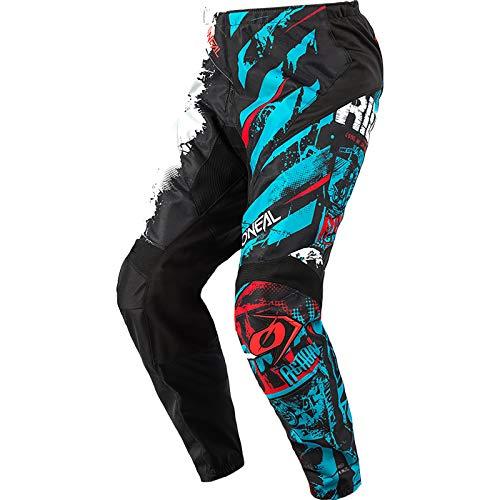O'Neal   Pantalones de Motocicleta   Enduro Motocross   Ajuste para una máxima Libertad de Movimiento, Transpirable y Duradero   Pantalones Elemento Ride   Adultos   Negro Azul   Talla 34/50