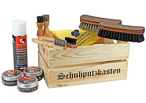 protectore Schuhputz-Set Gustav in praktischer Holzkiste - Schuhputzkiste - 12-teilig
