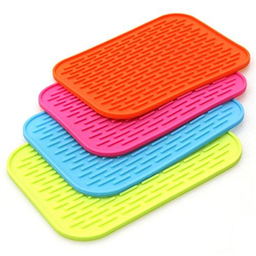 MJJEsports siliconen anti-slip mat hittebestendige tafel Placemat keuken wastafel gerechten Cup droge onderzetter, Rose, 1