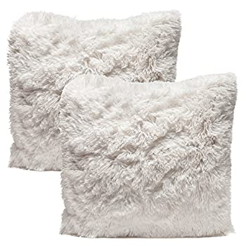 Chanasya Super Soft Shaggy Chic Fuzzy Faux Fur Elegant Cozy White Throw Pillow Cover Pillow Sham - Solid White Fur Throw Pillowcase 18x18 Inches 2-Pack Pillow Insert Not Included