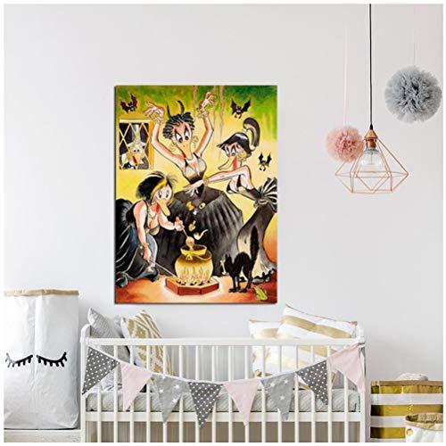 ASLKUYT Hexerei Und Schwarze Magie Carl Barks Leinwanddrucke Bildgemälde Für Wohnzimmer Poster An Der Wand Home Decoration-20X28 Inchx1 Frameless