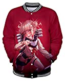 QYIFIRST - Chaqueta bomber para hombre, de béisbol, para tiempo libre, Hero Academia Himiko Toga, chaqueta roja de C XS (pecho, 92 cm)