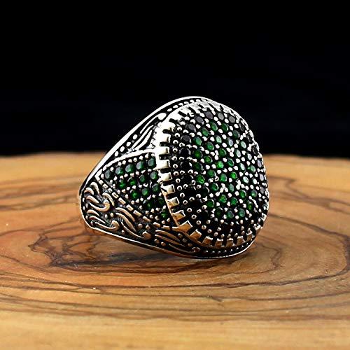 QHKS 925 Anillo de Plata de Ley para Hombres Negro Verde Natural Zircon Stones AQEQ Onyx Jewelry Moda Vintage Regalo Hombres Anillos Tamaño (Ring Size : 12.5)