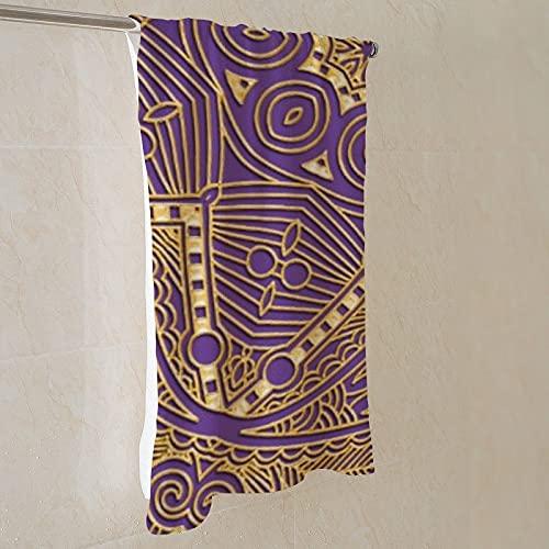 Toalla de baño de microfibra de 71 x 139 cm, elegante y elegante, diseño de mandala dorado en color morado, de secado rápido, ligera, multiusos como toalla de playa, toalla deportiva, toalla de mano
