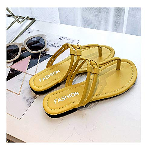 Miarui Frauen Sandale mit Dual-Wear Methode, Damen Sommer-Sandalen flach, Flip Flops für Frauen Slip-on Flache Schuhe Strand Slipper für Beach Holiday Pool,Gelb,35