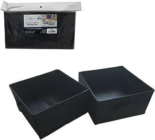 Mainstays Half-Size Collapsible Storage Bins - Set of 2 (Black)