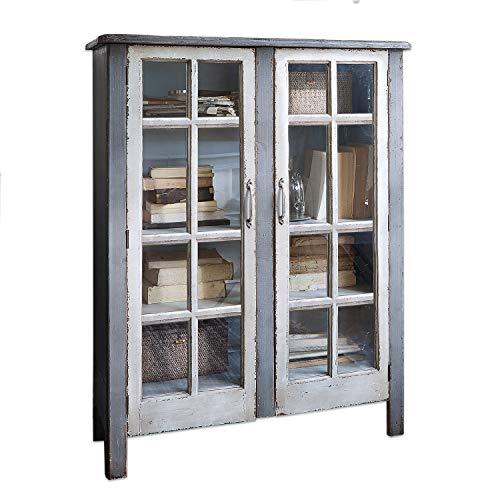Loberon dressoir Sherman, Monterey-grenenhout/deuren met glazen inzetstuk, H x B x D ca. 124/97 / 37,5 cm, grijs/antiek wit