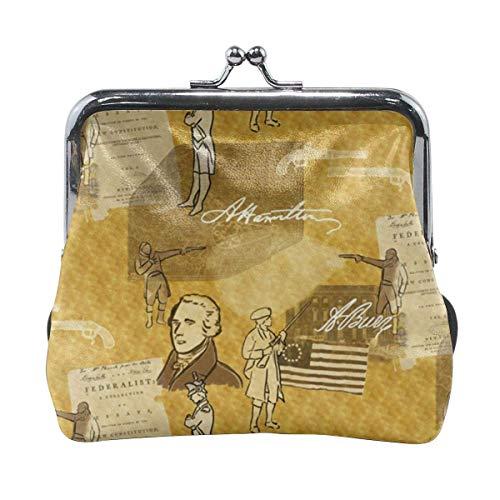 TYDhey Alexander Hamilton Monederos con Hebilla clásica Carteras de Cuero con Cierre de Beso