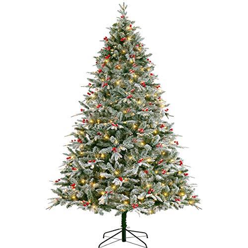 LordofXMAS Flocked Prelit Artificial Christmas Tree 7.5 feet Pine with LED Lights