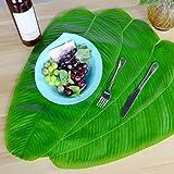 None - Juego de 5 manteles artificiales con hojas de plátano decorativas, simulación de hojas, para jardín, decoración de pared, juego de mesa con hojas artificiales
