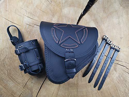 FORTUNA ORANGE Satteltasche von ORLETANOS kompatibel mit Seitentasche Schwingentasche Harley Davidson Tasche schwarz Bikertasche Fatboy Heritage Starrahmen Rahmen Schwinke linke Seite Leder