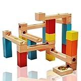Wishtime 玉転がし ビーズコースター 木製おもちゃ スロープ 33点セット 木のおもちゃ 積み木 ブロック 知育 玩具 収納袋付き 立体パズル 男の子 女の子 誕生日 クリスマス 新年 ギフト プレゼント