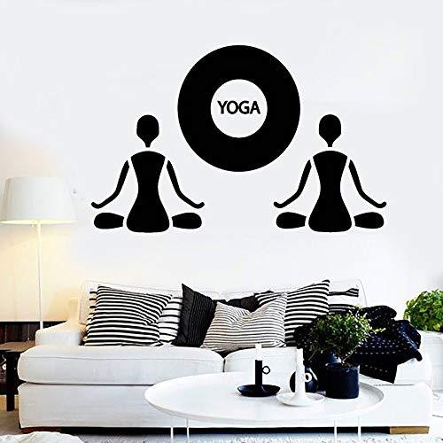 Yoga etiqueta de la pared meditación meditación arte vinilo etiqueta de la ventana salón estudio gimnasio decoración interior relajarse cuerpo salud mural pegatina42x65 cm