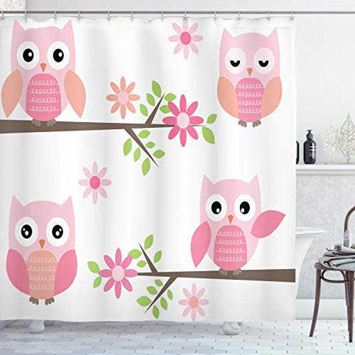 Pink Owls Shower Curtain