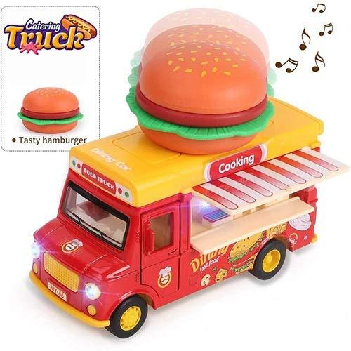Tira del Coche Food Truck vehículos de Juguete Coche con la música y la luz Que se Puede Abrir Puertas Toldo, Helado Juguete Cesta de aleación de Camiones de Juguete (Color : Burger)