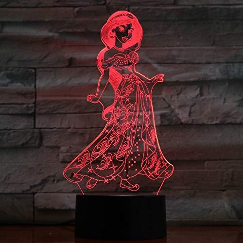 Lampe Illusion, Acrylique 3D Lumière De L'Atmosphère Disney Princesse Jasmine Princess, Del Dégradé Tactile 7 Veilleuse De Couleur