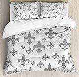 Ambesonne Fleur De Lis Duvet Cover Set, Lily Pattern Classic Retro Royal Vintage European Iris Ornamental Artwork, Decorative 3 Piece Bedding Set with 2 Pillow Shams, Queen Size, Grey