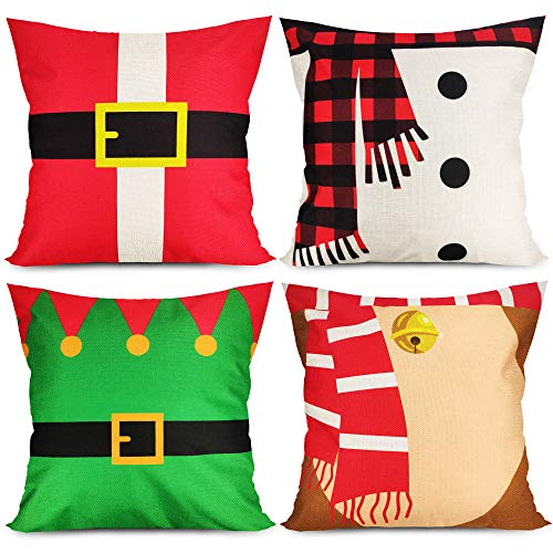 MISS FANTASY Christmas Pillowcase Set of 4 Christmas Pillow Covers 18x18 Christmas Outdoor Pillow Covers Xmas Decorative Throw Pillow Covers 18x18 Holiday Cushion Covers for Sofa Couch
